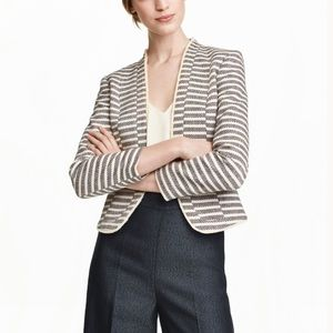 H&M Fitted Tweed Textured Blue Striped Jacket
